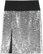 DKNY Sequined Silkchiffon Skirt - Lyst