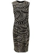 Naeem Khan Sleeveless Circle Embellished Shift Dress - Lyst