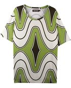 House of Holland Green Rave Wave Oversize Tee - Lyst