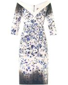 Preen By Thornton Bregazzi Darla Forget-Me-Not-Print Fitted Dress - Lyst