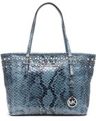 MICHAEL Michael Kors Jet Set Embellished Embossed Leather Small Travel Tote Bag - Lyst