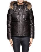 Canali Detachable Raccoon Fur Trimmed Hood Leather Padded Jacket - Lyst
