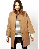 Asos Bonded Coat with Pocket Stitch Detail - Lyst