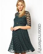 Asos Maternity Lace Skater Dress with Belt and 12 Sleeve - Lyst