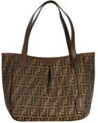 Fendi Handbag Shopping With Zip Zucca Large - Lyst