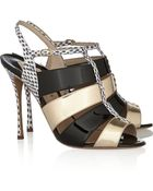 Nicholas Kirkwood Water-Snake and Patent-Leather Sandals - Lyst