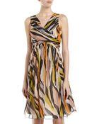 Moschino Cheap & Chic Crisscross Printed Chiffon Dress Blackmulticolor - Lyst