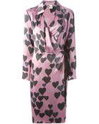 Lanvin Heart Print Wrap Dress - Lyst