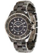 Chanel Black Ceramic And Diamond 'J12 Classic' Watch - Lyst