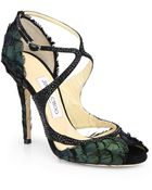 Jimmy Choo Kamelia Shimmer Feather Sandals - Lyst
