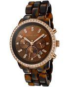 Michael Kors Womens Chronograph White Swarovski Crystal Brown Tortoise Shell Plastic Mkors Watch - Lyst