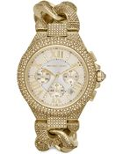 Michael Kors Camille Embellished Goldtone Stainless Steel Chronograph Bracelet Watch - Lyst