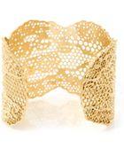 Aurelie Bidermann Goldplated Vintage Lace Cuff - Lyst