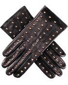 Black.co.uk Gold Studded Black Leather Gloves- Silk Lined - Lyst