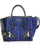 Miu Miu Denim & Leather Mini Satchel - Lyst