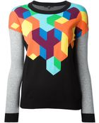 Tibi Geometric Knit Sweater - Lyst