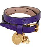 Alexander McQueen Skull Charm Leather Bracelet - Lyst