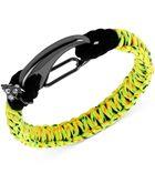 Steve Madden Hematitetone Lime Green Macramé Friendship Bracelet - Lyst