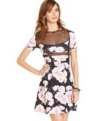 Teen Vogue  Floral Print Illusion Skater Dress - Lyst