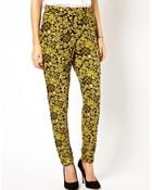 Asos Peg Pants In Gold Oriental Print - Lyst