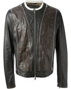 DSquared2 Zip Detailed Leather Jacket - Lyst