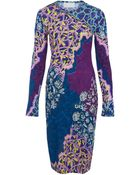 Peter Pilotto Blue Fitted Print Jersey Dress - Lyst