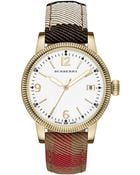 Burberry Ladies Gold-Tone Watch With House Check Strap - Lyst