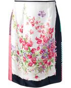 Nina Ricci Floral Skirt - Lyst