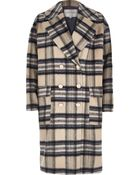 River Island Cream Check Brushed Woolen Midi Coat - Lyst