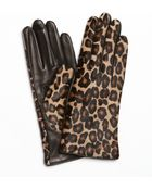 Portolano Black Leopard Nappa Leather Calf Hair Gloves - Lyst