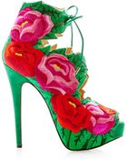 Charlotte Olympia Hibiscus Floral-Embroidered Suede Sandals - Lyst