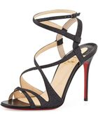 Christian Louboutin Audrey Strappy Glitter Red Sole Sandal - Lyst