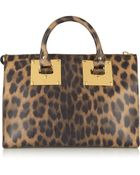 Sophie Hulme Leopard-Print Leather Tote - Lyst