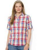 Lauren by Ralph Lauren Plus Lightweight Plaid Shirt - Lyst