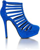 Missguided Chitra Faux Suede Strappy Platform Heels in Cobalt Blue - Lyst