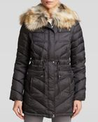 Laundry By Shelli Segal Coat - Chevron With Faux Fur Trim Hood - Lyst