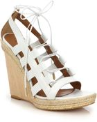 Aquazzura Wooden-Wedge Lace-Up Leather Sandals - Lyst