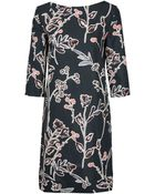 Marni Dark Green Graphic Floral Shift Dress - Lyst