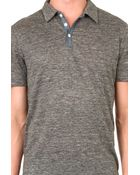 Vince Chambray Placket Linen Polo - Lyst