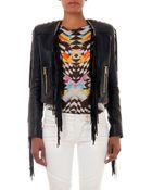 Balmain Leather Fringe Jacket - Lyst
