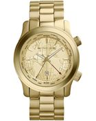 Michael Kors Mid-Size Golden/Horn Stainless Steel Runway Three-Hand Watch - Lyst