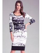 Bebe 2-Color Intarsia Midi Dress - Lyst