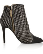 Lanvin Tweed-Print Calf Hair And Leather Ankle Boots - Lyst
