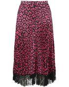 Christopher Kane Leopard Print Pleated Skirt - Lyst