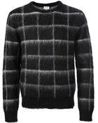 Saint Laurent Checked Sweater - Lyst