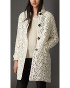 Burberry Floral Lace Coat - Lyst