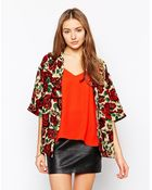 AX Paris Lightweight Blazer In Rose Print - Lyst