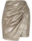 River Island Gold Metallic Wrapped Drape Mini Skirt - Lyst
