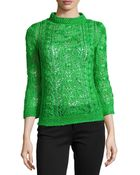 Oscar de la Renta Cable Knit Silk Pullover Sweater - Lyst