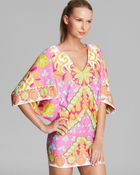 Trina Turk Woodblock Floral Swim Cover Up Tunic - Lyst